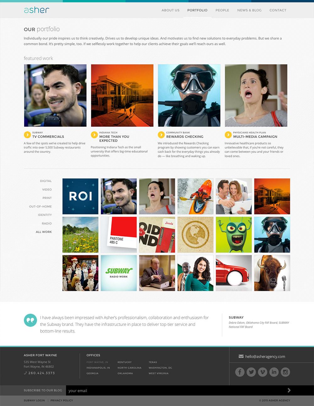 Asher Agency Website: Portfolio