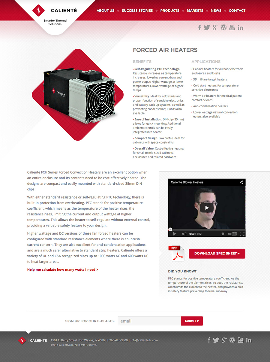 Caliente: Product Page