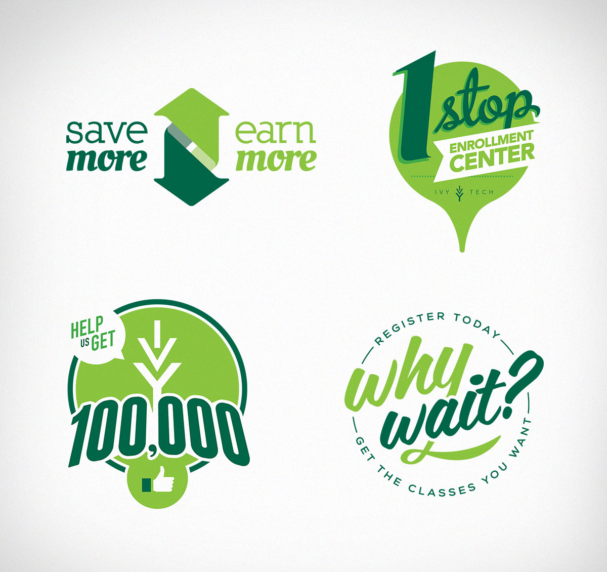 Ivy Tech campaign wordmarks