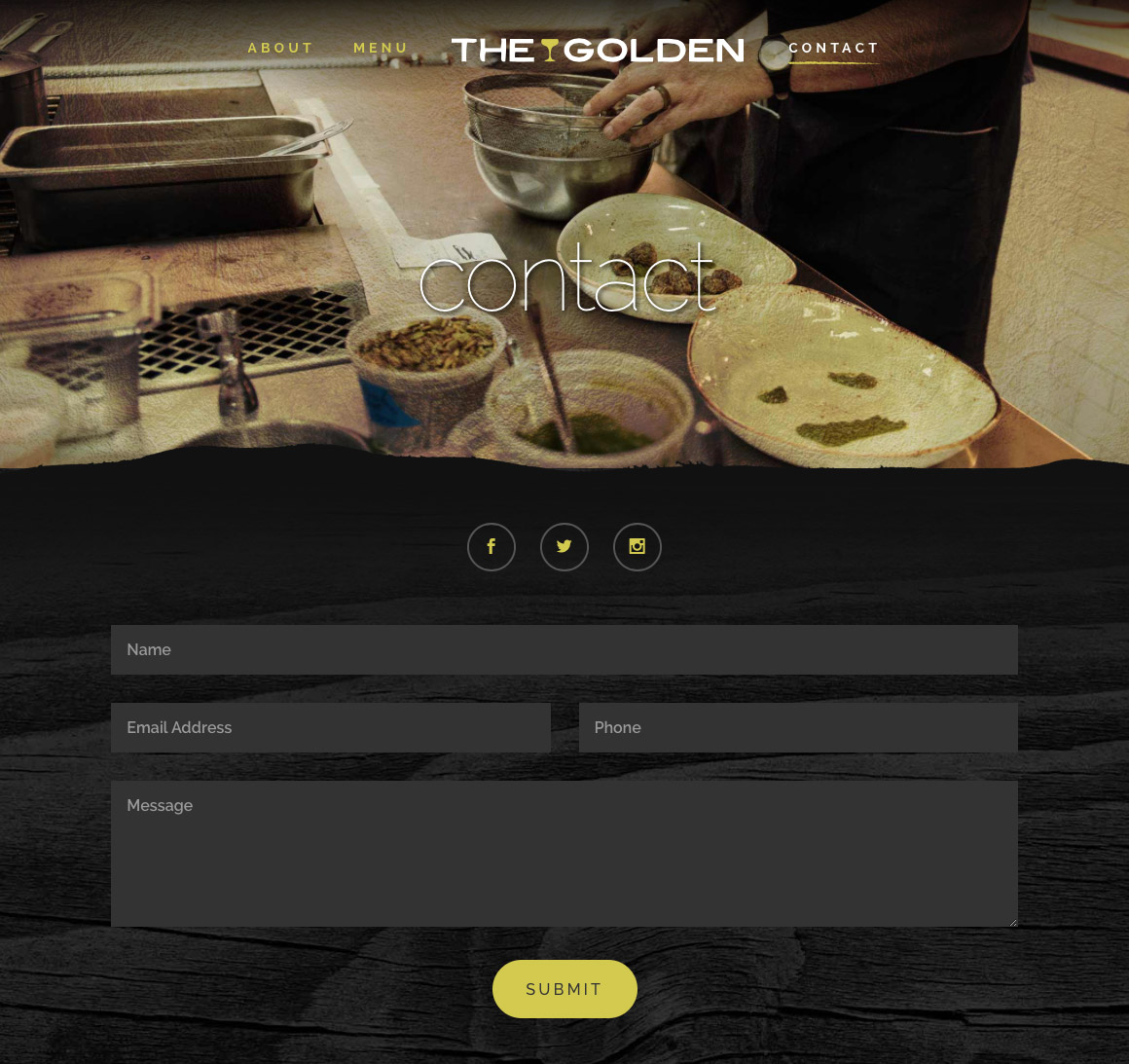 The Golden: Contact page