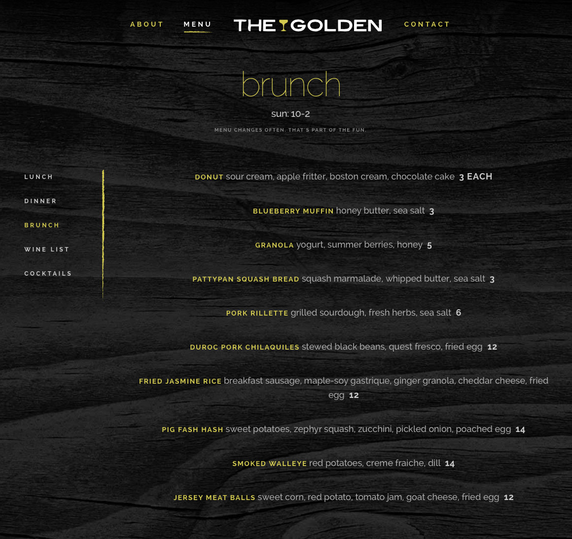 The Golden: Menu page